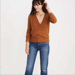 Madewell faux wrap front pullover sweater